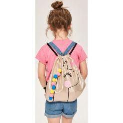 Błyszczący plecak worek z pomponami - Złoty. Torby i plecaki dziecięce marki Tuloko. W wyprzedaży za 29.99 zł.