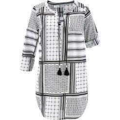 Długa tunika z rękawami 3/4 bonprix czarno-biały wzorzysty. Tuniki damskie marki bonprix. Za 89.99 zł.
