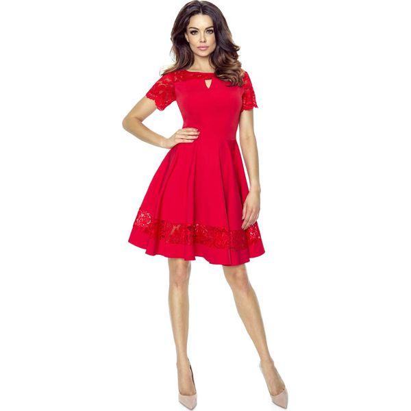 a0415a030a Czerwona Sukienka Elegancka Rozkloszowana z Koronką - Sukienki ...