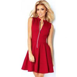 123-4 sukienka z ekspresem z przodu i kieszonkami - bordo. Różowe sukienki damskie NUMOCO, z długim rękawem. Za 139.00 zł.