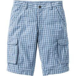 Bermudy Regular Fit bonprix niebieski dżins - biały w kratę. Białe szorty męskie bonprix. Za 109.99 zł.