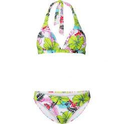 Bikini bonprix zielono-różowy z nadrukiem. Czerwone bikini damskie bonprix, w kolorowe wzory. Za 74.99 zł.