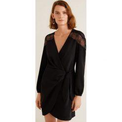 Mango - Sukienka Sugar. Czarne sukienki damskie Mango, z aplikacjami, z koronki, casualowe, z długim rękawem. Za 269.90 zł.