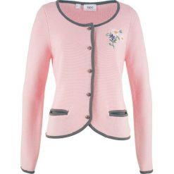 Sweter rozpinany w ludowym stylu, z haftem, długi rękaw bonprix dymny szary - pastelowy jasnoróżowy. Kardigany damskie marki KALENJI. Za 59.99 zł.