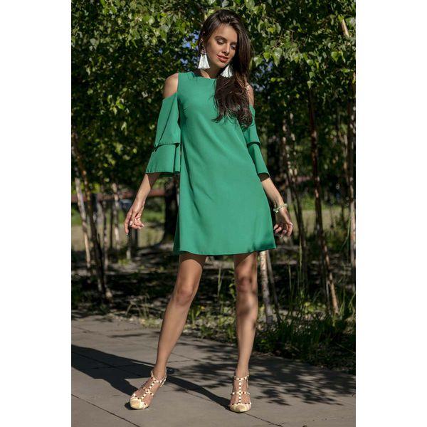 fd0ed40fb2 Zielona Koktajlowa Sukienka z Wyciętymi Ramionami - Sukienki damskie ...