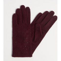 Wełniane rękawiczki z dżetami - Bordowy. Czerwone rękawiczki damskie Mohito, z wełny. Za 49.99 zł.