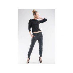 Spodnie dresowe ze ściągaczami SL4010. Szare spodnie dresowe damskie Soleil, z dresówki. Za 89.00 zł.