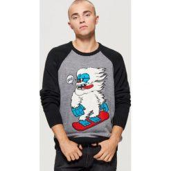 Sweter z raglanowymi rękawami - Czarny. Czarne swetry przez głowę męskie Cropp. Za 99.99 zł.