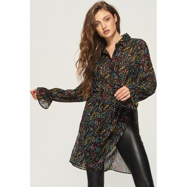 83ed1152f88e31 Długa koszula z wiązaniem - Wielobarwn - Koszule damskie Sinsay. W ...