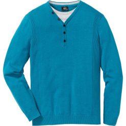 Sweter 2 w 1 Regular Fit bonprix ciemnoturkusowy. Swetry przez głowę męskie marki Giacomo Conti. Za 59.99 zł.