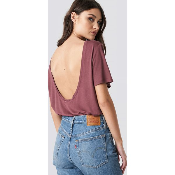 c1d9da346ea7eb NA-KD T-shirt z odkrytymi plecami - Pink - T-shirty damskie NA-KD ...