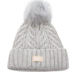 Czapka UGG - W Cable Pom Beanie 17493 Light Grey Heather. Szare czapki i kapelusze damskie UGG, z materiału. Za 299.00 zł.