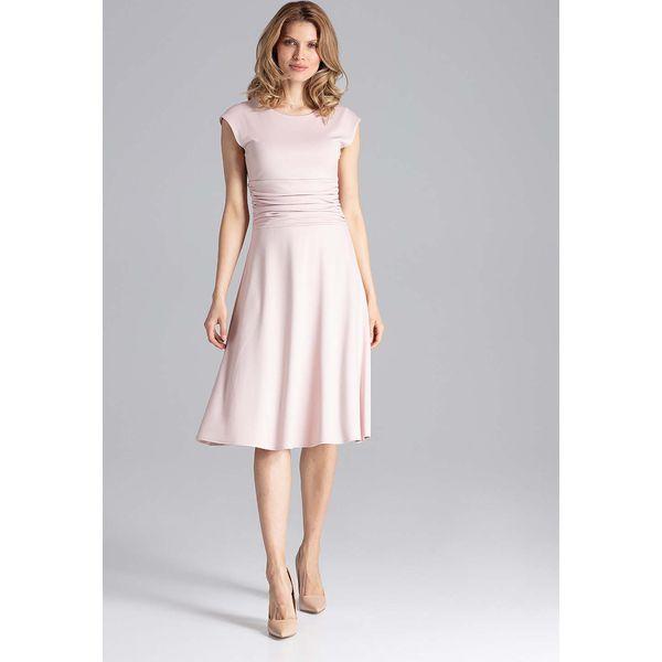 ba3f62f45e Elegancka Różowa Rozkloszowana Sukienka z Zaznaczoną Talią ...