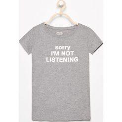 T-shirt z napisem - Szary. Szare t-shirty i topy dla dziewczynek Reserved, z napisami. Za 24.99 zł.