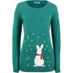Sweter dzianinowy z motywem królika, długi rękaw bonprix dymny szmaragdowy. Niebieskie swetry damskie bonprix, z dzianiny. Za 89.99 zł.
