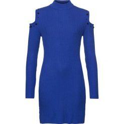 Sukienka dzianinowa z wycięciami bonprix ciemnoniebieski. Niebieskie sukienki damskie bonprix, z dzianiny, eleganckie, ze stójką. Za 119.99 zł.