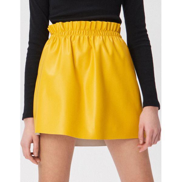 524e019be6 Spódnica z ekologicznej skóry - Żółty - Spódnice damskie marki ...