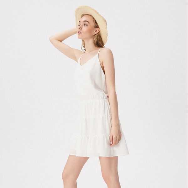 2abac519df Rozkloszowana sukienka z falbankami - Biały - Sukienki damskie marki ...