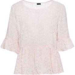 Bluzka koronkowa z baskinką bonprix pastelowy jasnoróżowy. Bluzki damskie marki MAKE ME BIO. Za 44.99 zł.