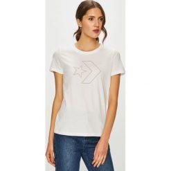 Converse - T-shirt. Szare t-shirty damskie Converse, z nadrukiem, z bawełny, z okrągłym kołnierzem. W wyprzedaży za 99.90 zł.