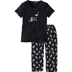 Piżama z krótkim rękawem i spodniami 3/4 bonprix czarno-biały. Czarne piżamy damskie bonprix, z krótkim rękawem. Za 54.99 zł.