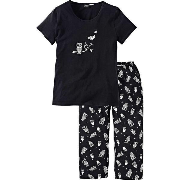 Piżama z krótkim rękawem i spodniami 34 bonprix czarno biały