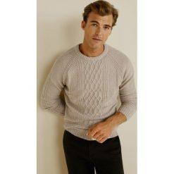 Mango Man - Sweter Brownie. Brązowe swetry przez głowę męskie Mango Man, z bawełny, z okrągłym kołnierzem. Za 199.90 zł.