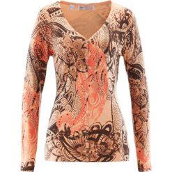 Sweter rozpinany bonprix brzoskwiniowo-brązowy. Brązowe kardigany damskie bonprix, z nadrukiem. Za 37.99 zł.
