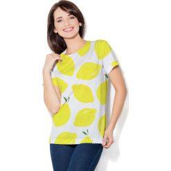 Colour Pleasure Koszulka CP-030 65 biało-żółta r. XXXL/XXXXL. Bluzki damskie Colour Pleasure. Za 70.35 zł.
