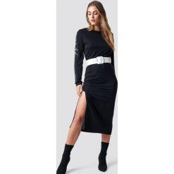 NA-KD Sukienka Sleeve Print Viscose - Black. Czarne sukienki damskie NA-KD, z materiału, z okrągłym kołnierzem. Za 141.95 zł.