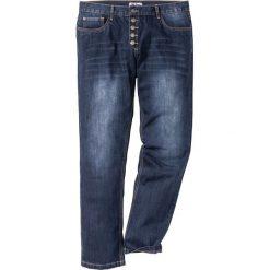 Dżinsy z widocznymi guzikami rozporka Regular Fit Straight bonprix ciemnoniebieski. Jeansy męskie marki bonprix. Za 59.99 zł.