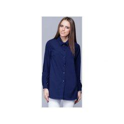 Elegancka koszula z kołnierzykiem granat  H025. Niebieskie koszule damskie Harmony, biznesowe, z klasycznym kołnierzykiem, z długim rękawem. Za 134.00 zł.