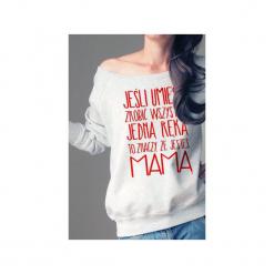 Jedną ręką bluza dla karmiących matek. Szare bluzy damskie One mug a day, z nadrukiem, z bawełny. Za 159.00 zł.