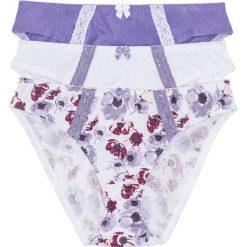 Figi (3 pary) bonprix z nadrukiem + biały + lila. Figi damskie marki KALENJI. Za 53.97 zł.