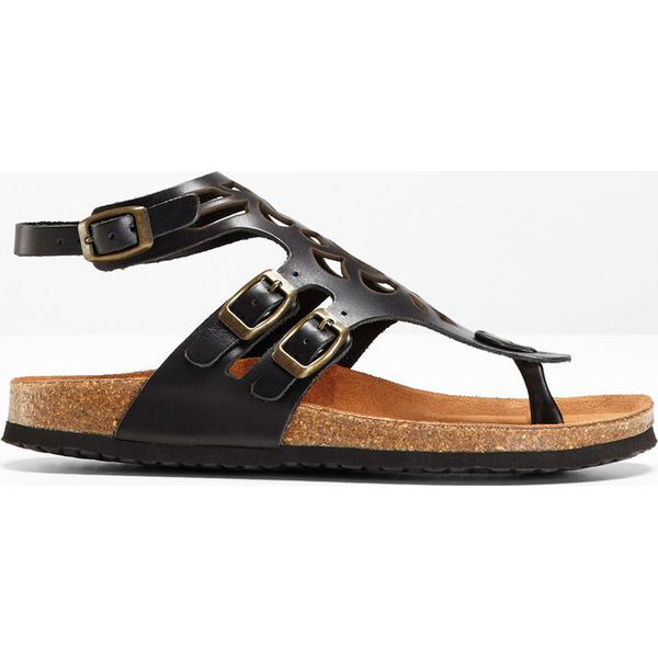 Wygodne sandały skórzane bonprix czarny