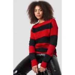 Trendyol Sweter Block Stripe Wide Neck - Red. Czerwone swetry damskie Trendyol, z dzianiny, z dekoltem w łódkę. Za 121.95 zł.