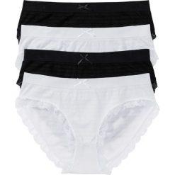 Figi maxi bezszwowe (4 pary) bonprix czarny + biały. Białe figi damskie bonprix, w koronkowe wzory, z koronki. Za 51.96 zł.