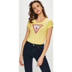 Guess Jeans - Top. Szare topy damskie Guess Jeans, z aplikacjami, z bawełny, z okrągłym kołnierzem, z krótkim rękawem. Za 139.90 zł.