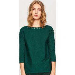 Sweter z ozdobnym wiązaniem - Khaki. Brązowe kardigany damskie Reserved. Za 69.99 zł.