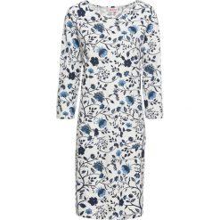 Sukienka shirtowa, rękawy 3/4 bonprix niebieski z nadrukiem. Niebieskie sukienki damskie bonprix, z nadrukiem. Za 59.99 zł.