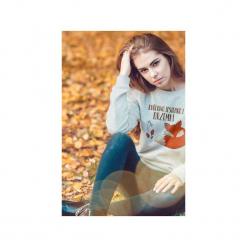Królowa jesiennej drzemki bluza uni. Szare bluzy damskie One mug a day, na jesień, z nadrukiem, z bawełny. Za 129.00 zł.