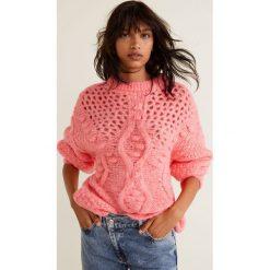 Mango - Sweter Popcorn. Różowe swetry damskie Mango, z dzianiny, z okrągłym kołnierzem. Za 159.90 zł.