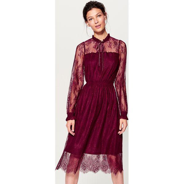 569f8291 Koronkowa sukienka ze stójką - Bordowy