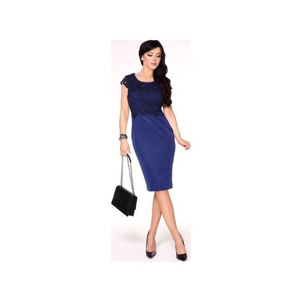 dd395c57d4 Ołówkowa sukienka midi z koronkowym topem - Niebieskie sukienki ...