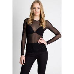 Dopasowana czarna bluzka z siatki  BIALCON. Czarne bluzki damskie BIALCON, wizytowe, z długim rękawem. Za 89.00 zł.