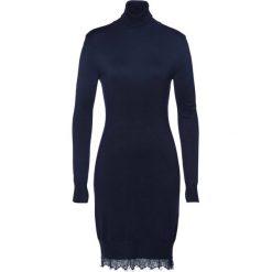 Sukienka dzianinowa  z koronką bonprix ciemnoniebieski. Niebieskie sukienki damskie bonprix, w koronkowe wzory, z dzianiny. Za 59.99 zł.