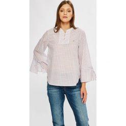 Tommy Jeans - Bluzka. Szare bluzki damskie Tommy Jeans, z bawełny, casualowe, ze stójką, z krótkim rękawem. W wyprzedaży za 279.90 zł.