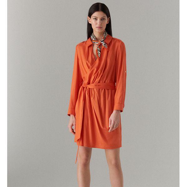 a22282f164 Koszulowa sukienka z paskiem - Pomarańczo - Sukienki damskie marki ...