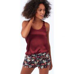 Etam - Top piżamowy Tori. Brązowe piżamy damskie Etam, z materiału. W wyprzedaży za 79.90 zł.