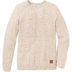 Sweter z okrągłym dekoltem w warkocze Regular Fit bonprix naturalny melanż. Białe swetry przez głowę męskie bonprix, melanż, z okrągłym kołnierzem. Za 109.99 zł.